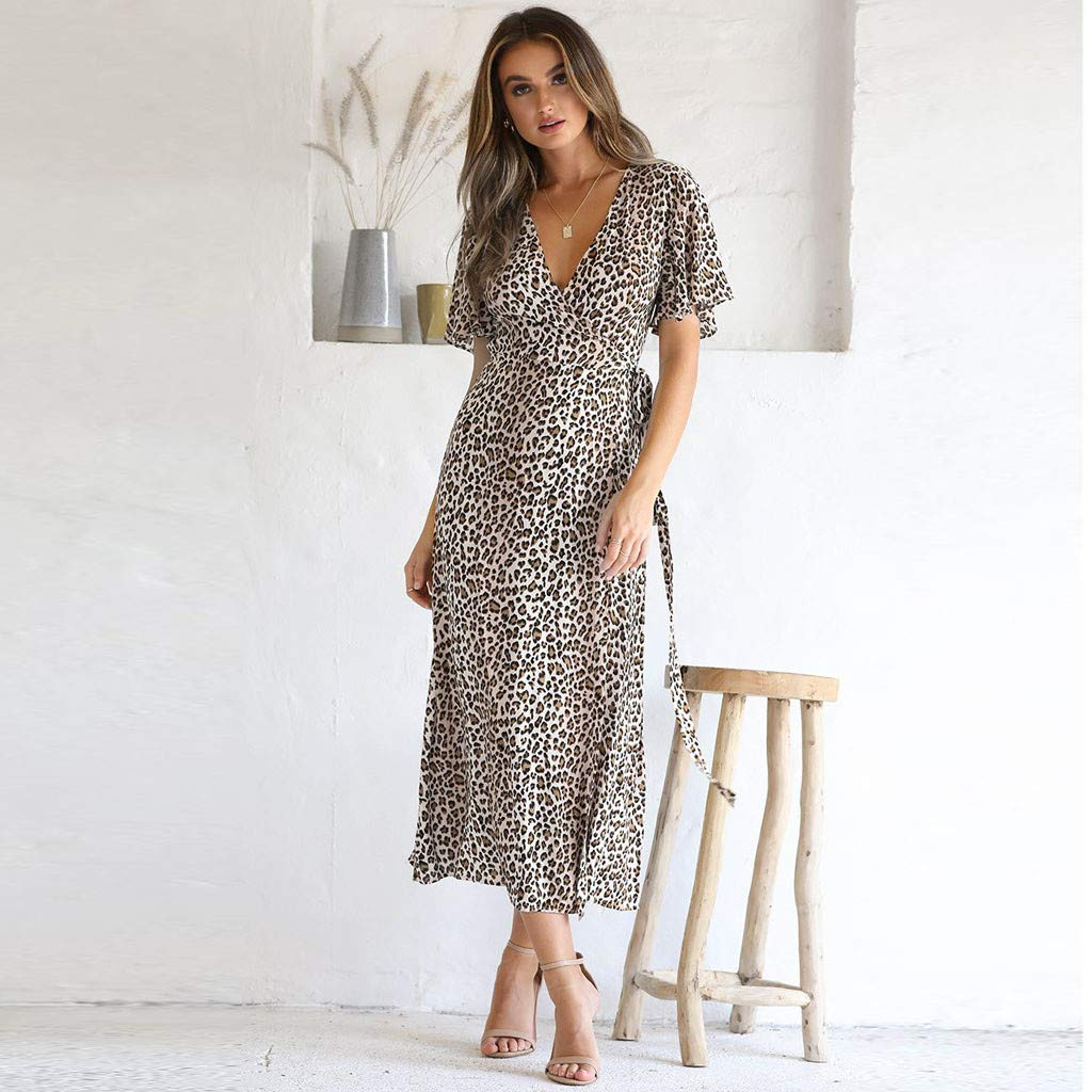 Sonmer Womens Deep V-Neck Leopard Short Sleeve Dress Long Maxi Party Beach Dress