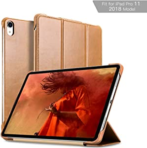 iPad Pro 11 Case 2018, ICARER Vintage Series Genuine Leather Folio Flip Smart Cover Leather Case with Auto Wake/Sleep Function [Magnetic Latch] Kickstand for Apple iPad 2018 11 inch Model (Khaki)