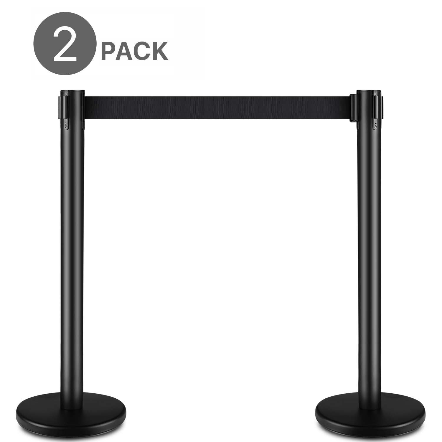 Flexzion Sentry Stanchion With 35.4'' Height, 6.6' Feet Retractable Belt Set of 2 Posts - Top Crowd Control Queue Pole Barrier Ideal for Indoor Outside Theaters Museums Bank Hotel Trade Decoration