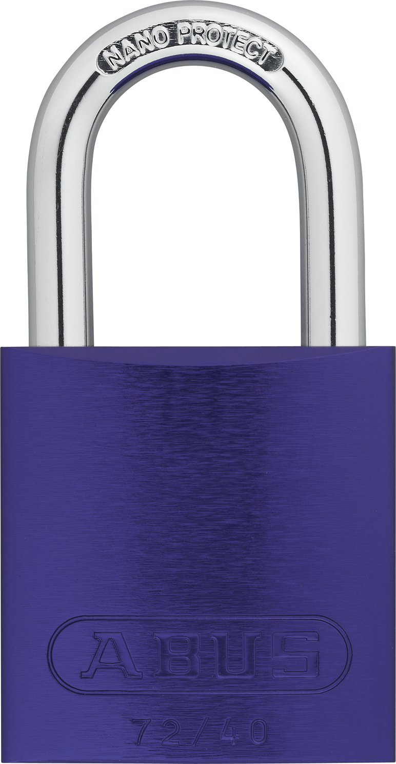 ABUS 72/40 KD Safety Lockout Aluminum Keyed Different Padlock with 1-Inch shackle, Purple