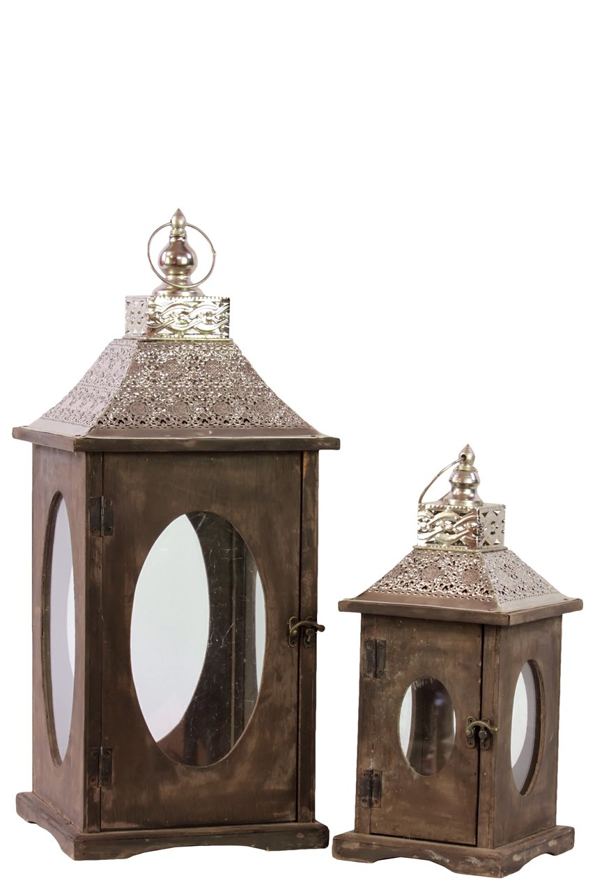 Brown Rustic Wood Metal & Glass Lantern - Set of 2