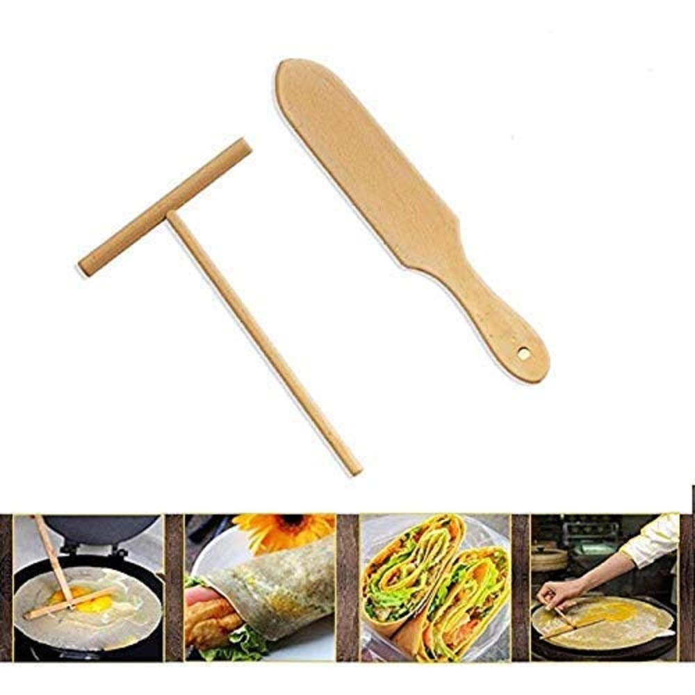 Wooden Crepe Spatula and spreaders | Wooden Spatula Set | Perfect Size to Fit Medium Crepe Pan | 100% Natural Beechwood Crepe Spreader and Spatula for Cooking (1)