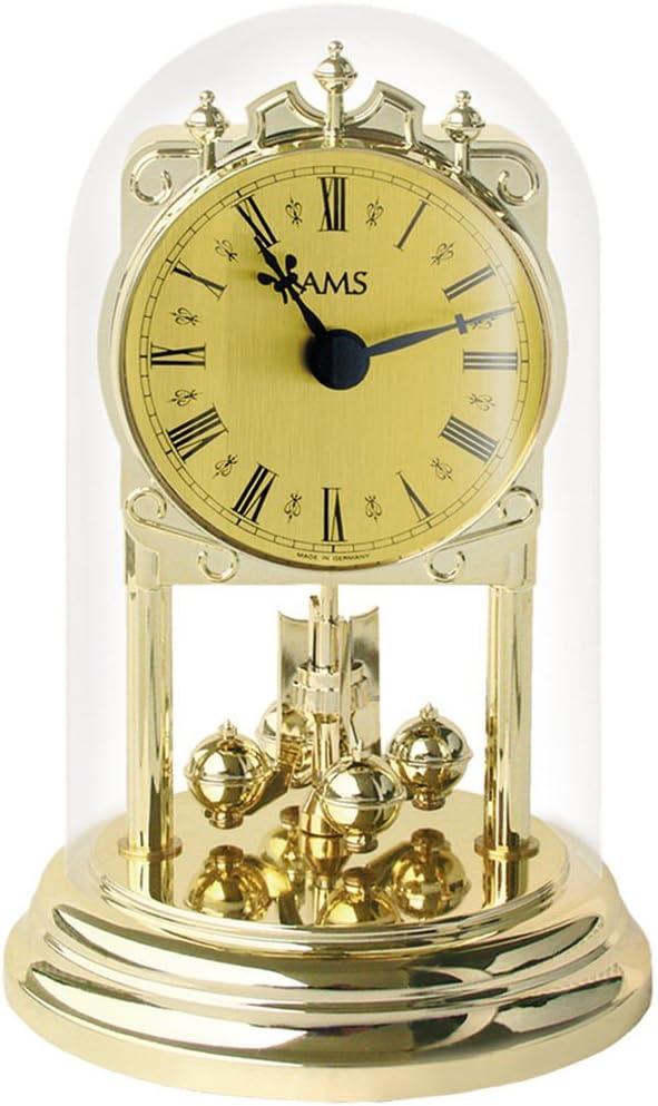 AMS 1103 Jahresuhr Optik Quarz Tischuhr goldfarben in Messingoptik Mineralglas r/ömische Ziffern