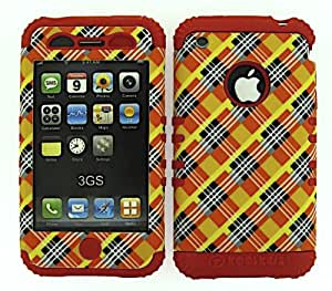 SHOCKPROOF HYBRID CELL PHONE COVER PROTECTOR FACEPLATE HARD CASE AND RED SKIN WITH MINI STYLUS PEN. KOOL KASE ROCKER FOR APPLE IPHONE 3G 3GS PLAID RD-TE414