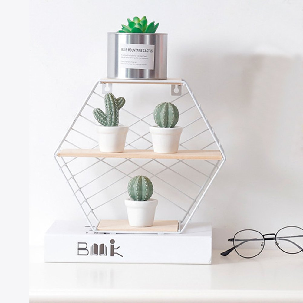 White Doremy Floating Shelf,Wall Mounted Modern Simple Geometry Wood Metal Wire Hexagon Plant Flower Wall Decoration Wall Storage Shelves Display Racks Perfect for Bedroom,Living Room,Office NBdoremy