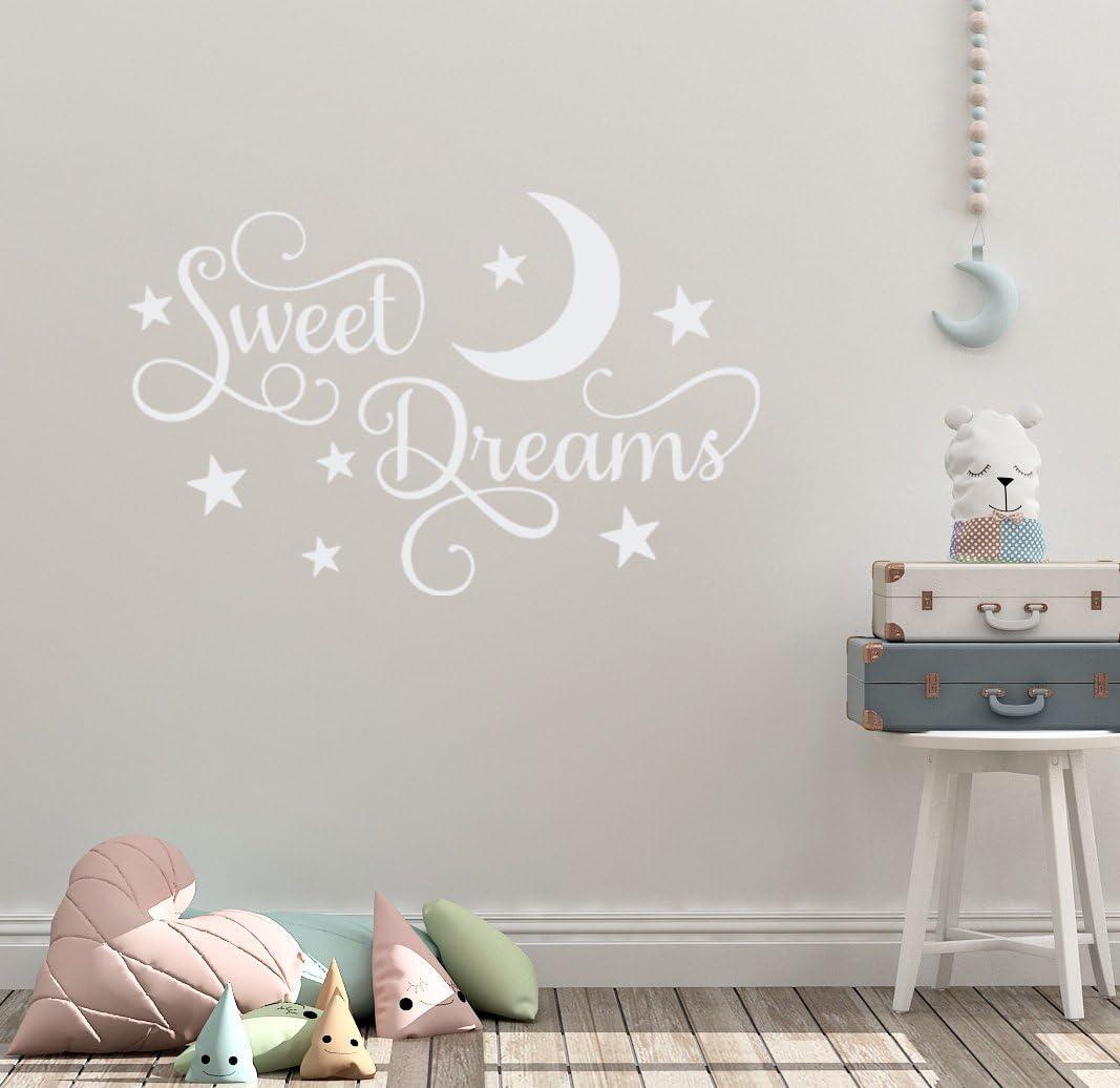 "24""x14"" Sweet Dreams Little One Bedtime Sleep Nap Moon Stars Dreaming Nursery Wall Decal Sticker Art Mural Home Decor"