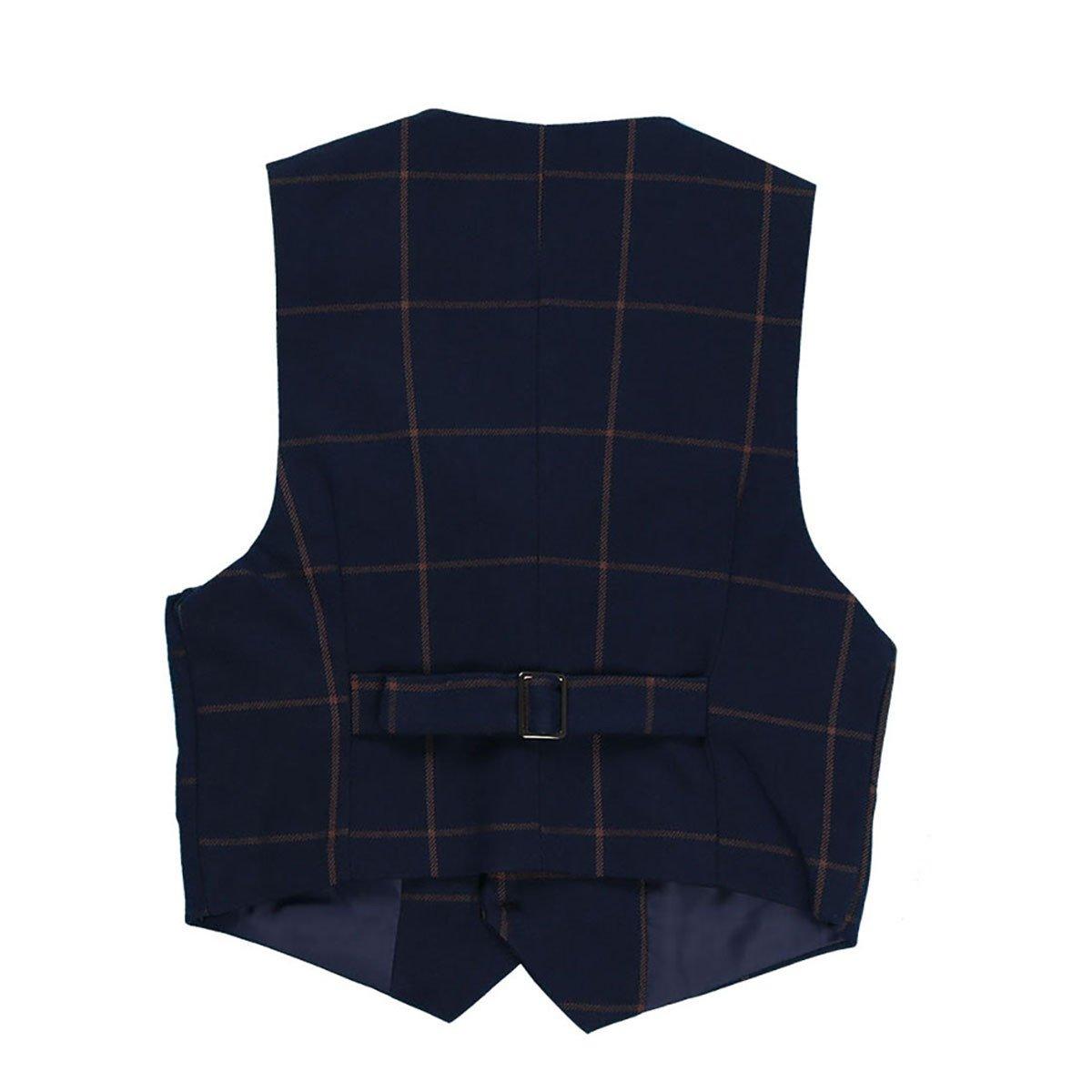 iiniim Kids Boys Gentleman Waistcoat Birthday Party Wedding Formal Suits Plaid Vest