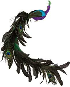 Kurt Adler H6043 Large Purple/Blue Feather Peacock on Clip, Multicolor