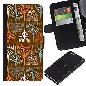 """Apple (4.7 inches!!!) iPhone 6 , la tarjeta de Crédito Slots PU Funda de cuero Monedero caso cubierta de piel ("""" Wallpaper Vintage Retro Art Tree Painting"""")"""