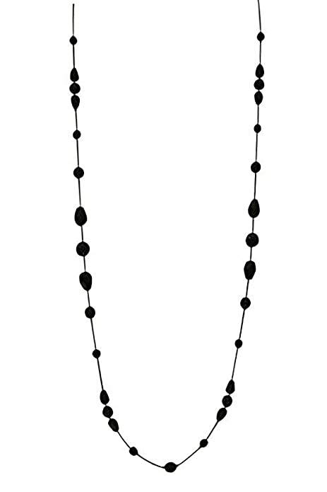 Vintage Style Jewelry, Retro Jewelry LaRaso & Co Long Necklace for Women Handcrafted Black Czech Glass Crystal Bead Station Necklace $23.99 AT vintagedancer.com