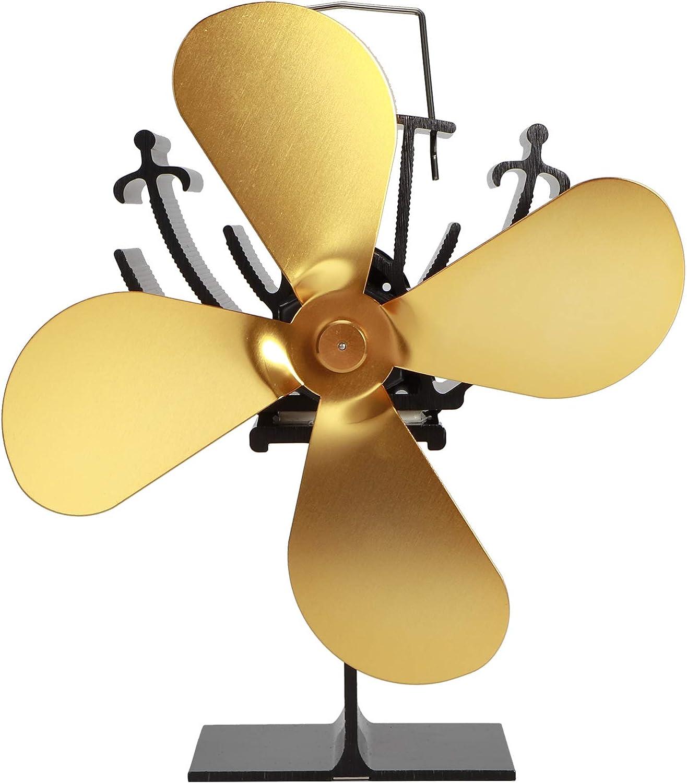 Ventilador de Estufa con Energía Térmica, Ventilador Estufa Leña Arranque Rápido con Detección Automática 4 Aspas 1000RPM, Estufa de Chimenea Aire Caliente Circulante para Leña/Quemador Leña/Chimenea