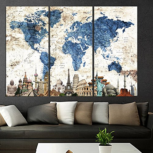 Art Canvas 3 Pieces World Map Push Pin Wall Art Canvas Print Set, World Map With Details Print, Framed, Extra Large Wall Art Print Map For Traveller Home Decor Map For Kids Qn89 -