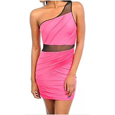 ad815475ff1 Dress One Shoulder Mini See Thru Mesh Insert Revealing Sexy Club Party -  Pink -: Amazon.co.uk: Clothing