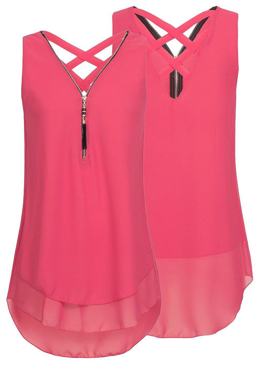 Yknktstc Womens Casual Sleeveless V Neck Chiffon Tank Top Crisscross Back Zipper Blouse T Shirt Large Style 2-Melon Red by Yknktstc