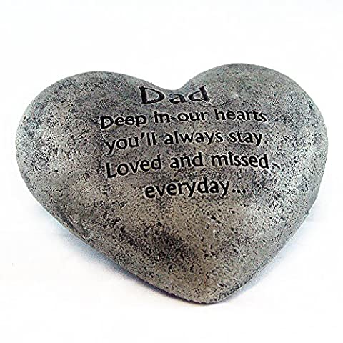Heart Shaped Memory Stone for Dad - Stone Angel Figurine