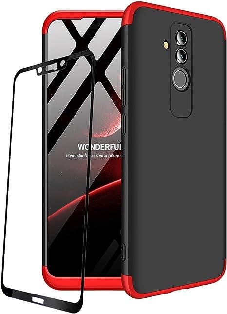 Coque pour Huawei Mate 20 Lite Rouge Noir 360 degrés Tout Inclus 3 dans 1 PC Bumper Film de Verre trempé par JOYTAG-Rouge Noir
