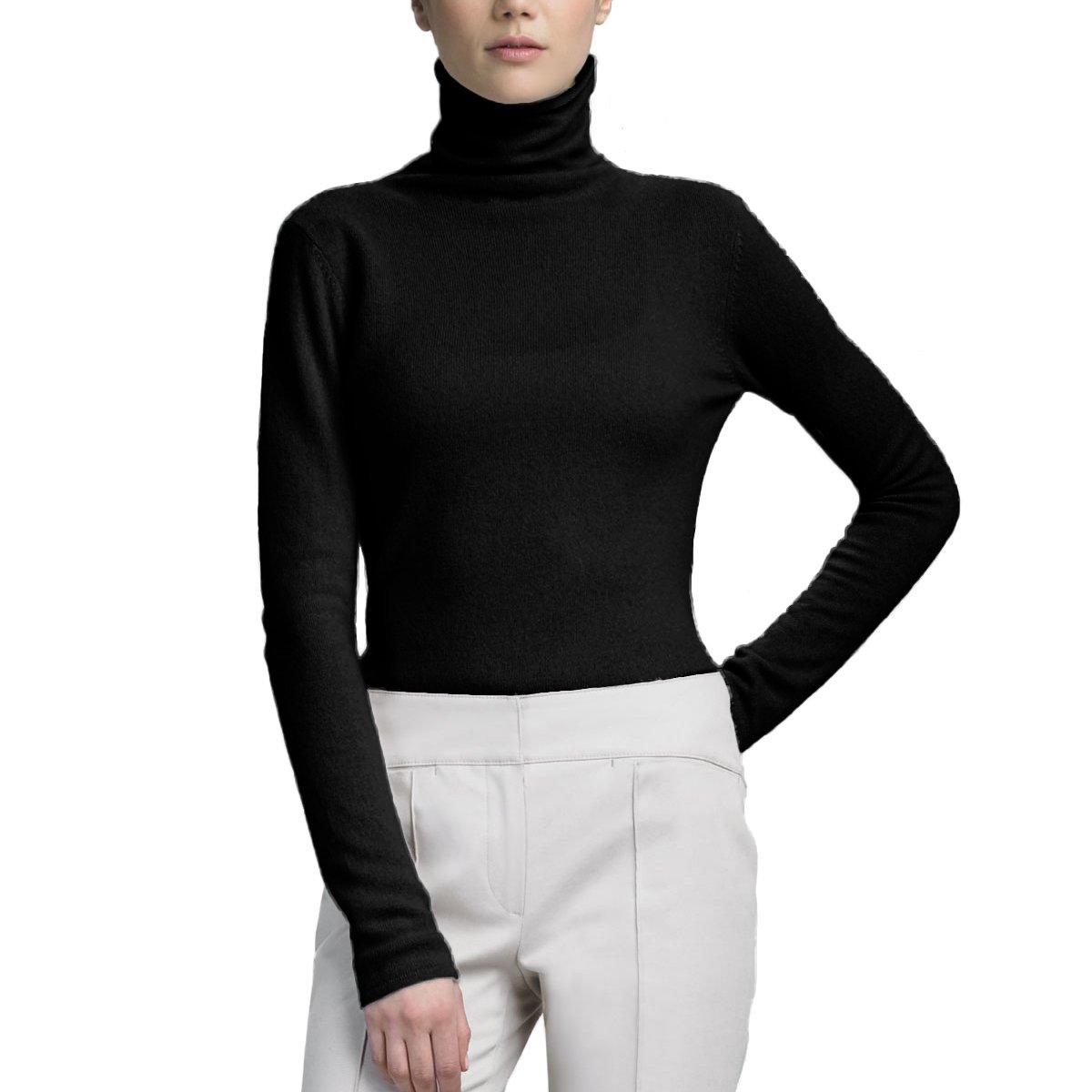 Parisbonbon Women's 100% Cashmere Turtleneck Tops Sweater Color Black Size 2XS