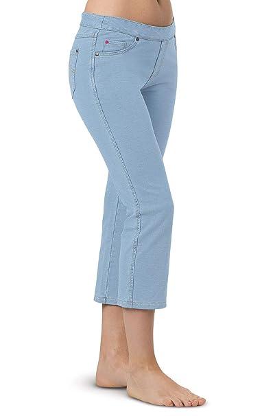 0a0125bbd PajamaJeans Women's Light Blue Stretch Knit Denim Capris, Clearwater, ...