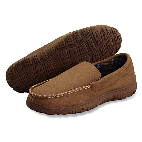 027e50dc9 LA PLAGE Men s Advanced Anti-Slip Indoor Outdoor Moccasin Slippers with  Hardsole Size 8