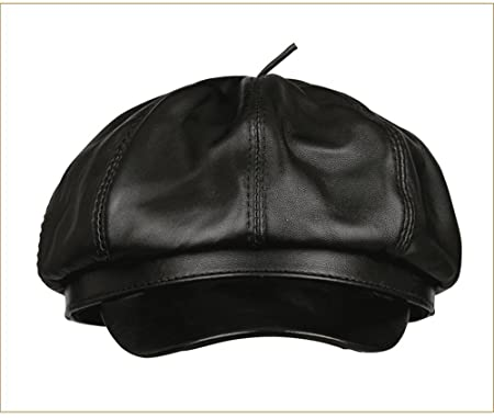 eb199d042ae GAOQIANGFENG Women s leather hat ladies autumn winter beret ladies warm  octagonal men and women models