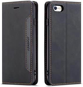 for iPhone 6 Plus Case iPhone 6S Plus Case Premium PU Leather Case with Card Holder Kickstand Hidden Magnetic Adsorption Shockproof TPU Bumper Flip Wallet Cover for iPhone 6 Plus / 6S Plus,Black