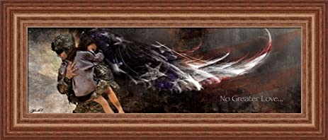 Charming No Greater Love American Soldier Angel Wings 21x9 Framed Art Print Picture  By Jason Bullard