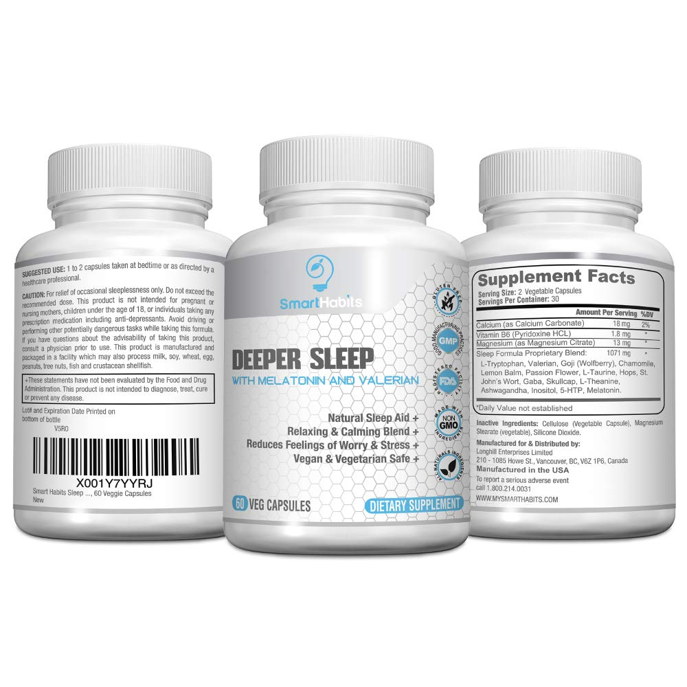 Amazon.com: SmartHabits Deeper Sleep Natural Sleeping Aid with Melatonin and Valerian Root | Vegan | 60 Veg Caps Non-Habit Forming, Herbal Adult Pills ...