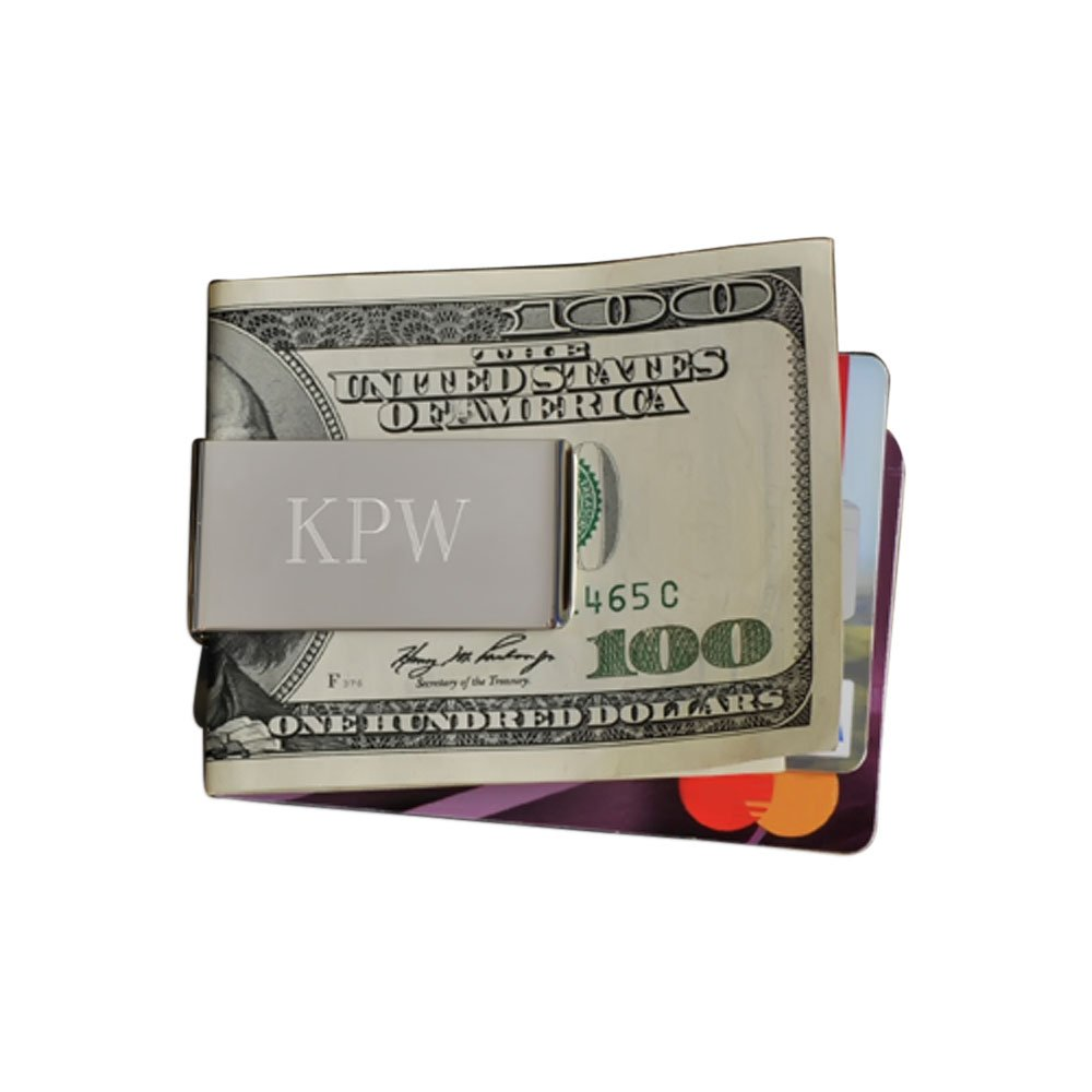 Personalized JDS Gifts Portable Silver Plated No-Slip Money Clip