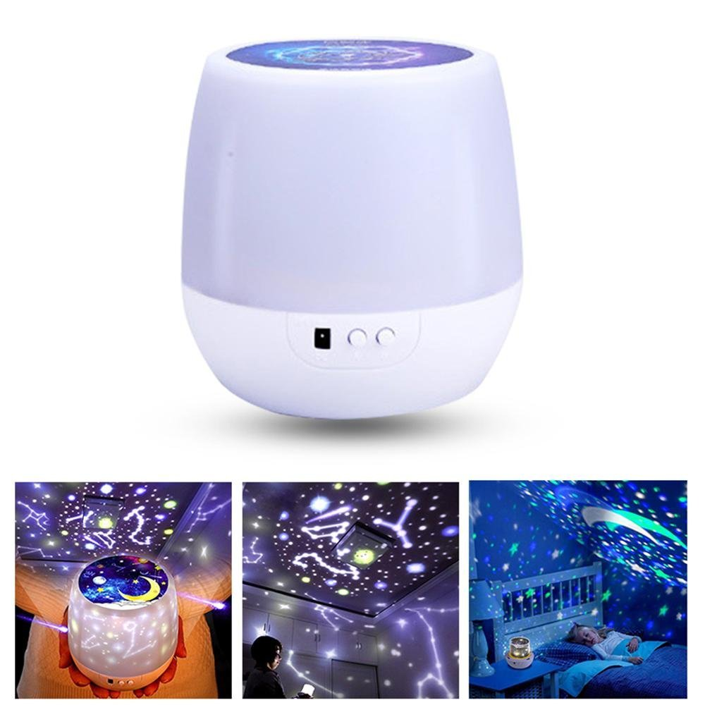 [KIDS GIFT] Constellation Night Light, 2018 Newest 3D Star Light Rotating Projector Universe Projection with USB Cable and 6 Light Effects, Rotating Light Lamp for Kids Adults and Nursery Decor