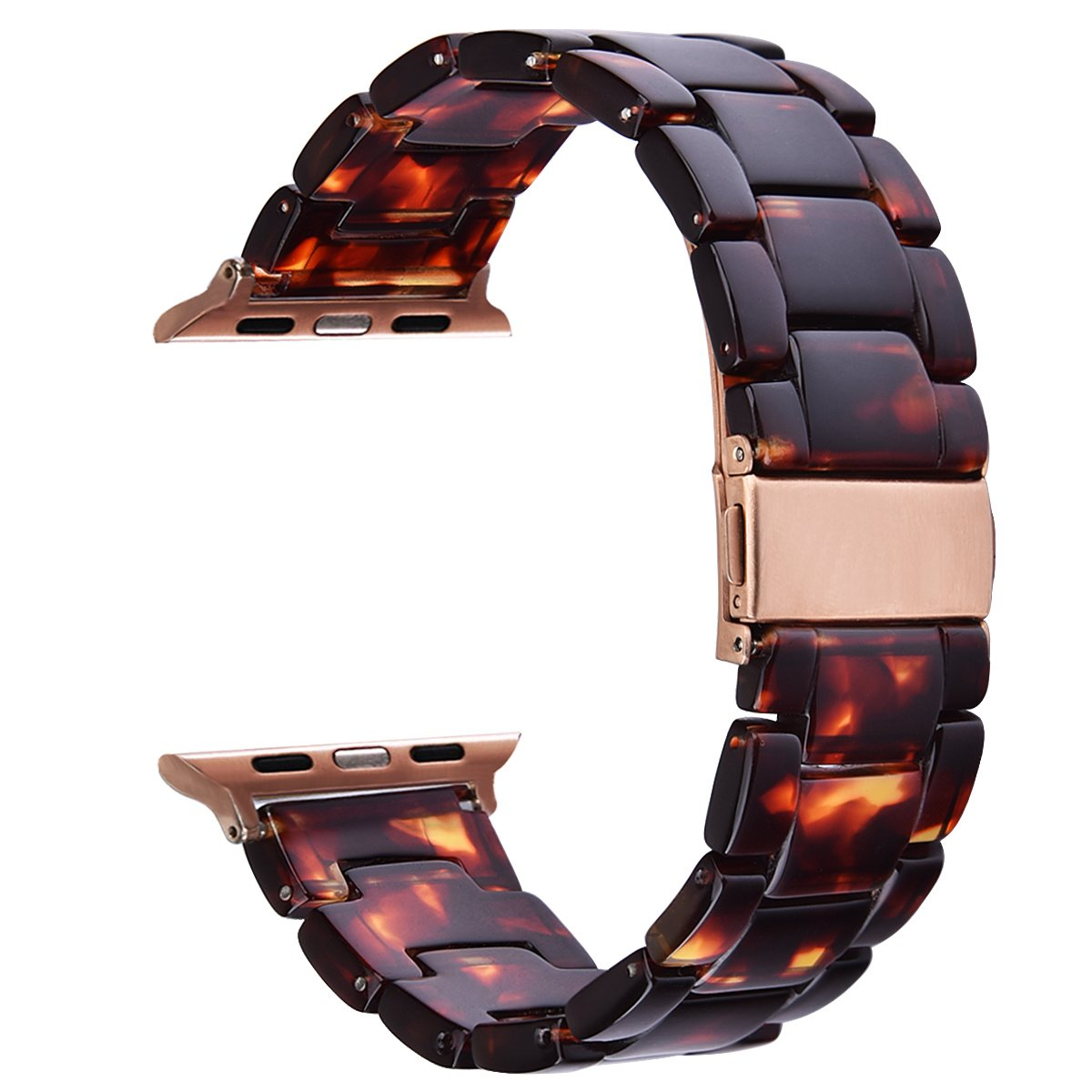 V_moro 38mm Apple Watch Band Women Men- Fashion Resin iWatch Band Bracelet With Copper Stainless Steel Buckle for Apple Watch Series 3 Series 2 Series 1 (Tortoise-tone, 38mm(5''-7.67''))