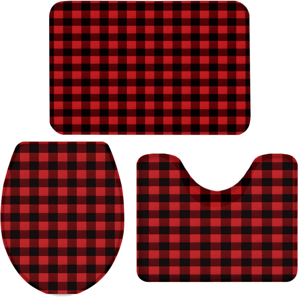 3 Pieces Bathroom Rugs and Mats Sets, Non Slip Water Absorbent Bath Rug, Toilet Seat/Lid Cover, U-Shaped Toilet Mat, Home Decor Doormats - Red Black Buffalo