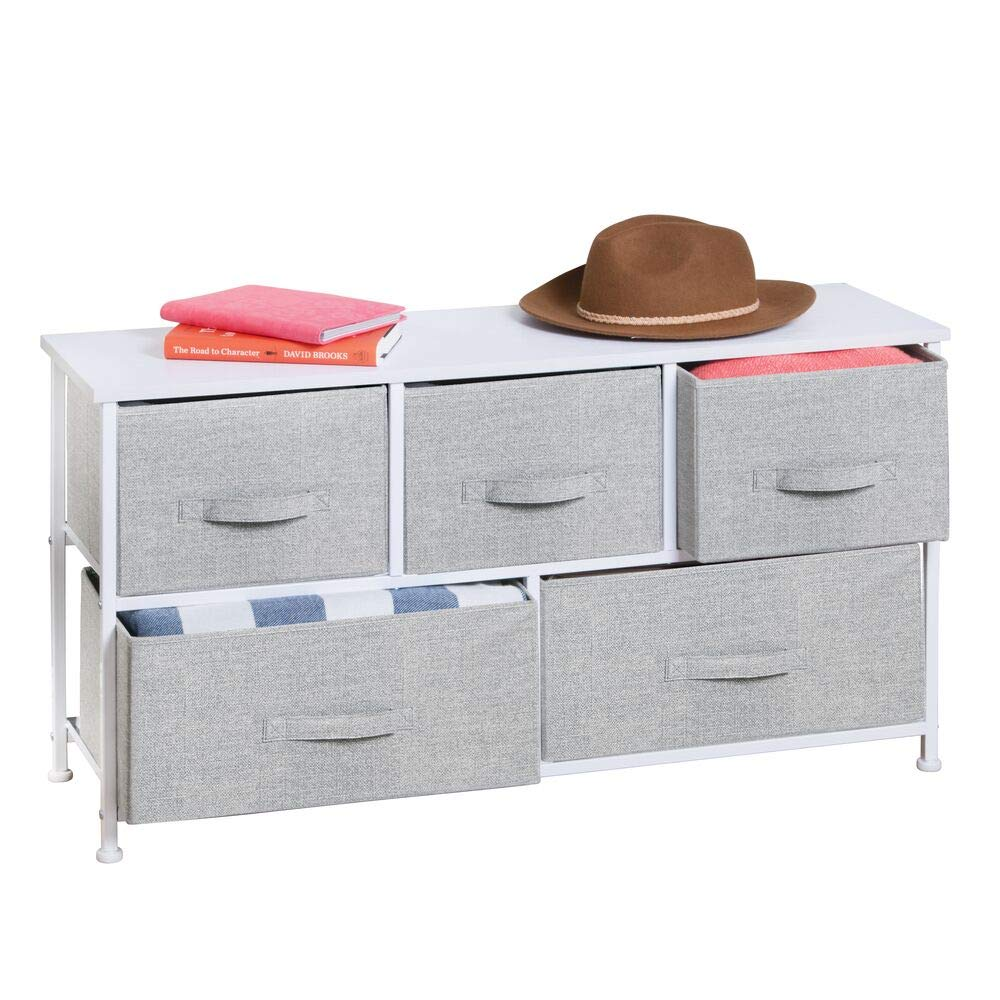 mDesign Extra Wide Dresser Storage Tower - Sturdy Steel Frame, Wood Top, Easy Pull Fabric Bins - Organizer Unit for Bedroom, Hallway, Entryway, Closets - Textured Print - 5 Drawers - Gray/White by mDesign
