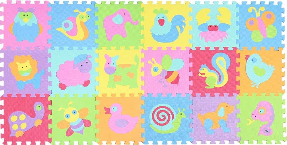 27 Piezas Suelo de Goma EVA Suave qqpp Alfombra Puzzle para Ni/ños Bebe Infantil AnimalesQQP-101114a27N. 30*30*0.9cm