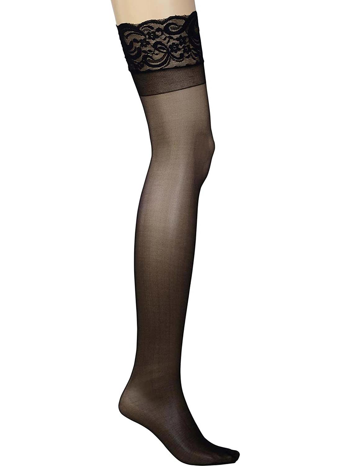 Womens Plus Size Hosiery Sheer Lace Top Black Thigh High Stockings For Garter Belt Angelique