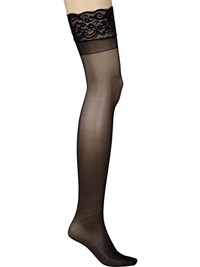 fa2be3c1595d6 Amazon.com  Womens Plus Size Hosiery Sheer Lace Top Black Thigh High  Stockings For Garter Belt  Pantyhose  Clothing