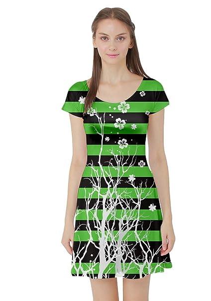 Cowcow Womens Green Shamrock Pattern St Patricks Day Clover Leaves