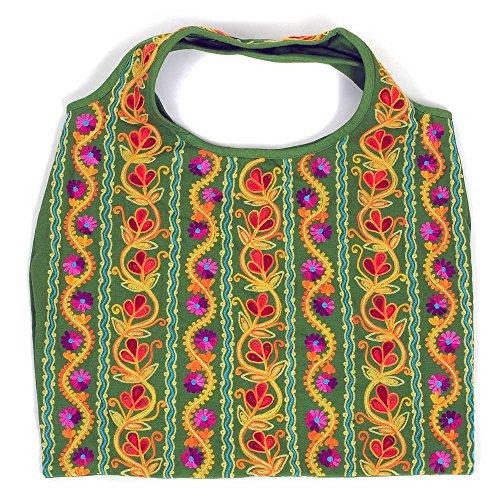 HAB & GUT (IB00V) diseños y colores diferentes, Bolso de hombro indio para mujer 100 % algodón, bolsos de shopping y bandoleras coloridos PARVATI