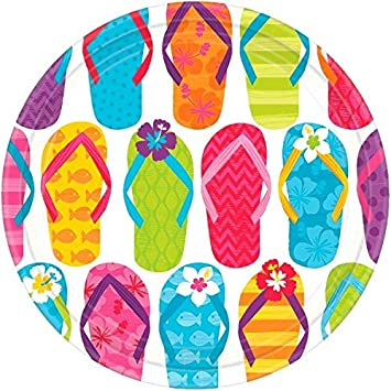 f354309fc9022 Amscan Sun-Sational Summer Luau Party Colorful Flip Flops Round Plates  (Pack of 60)