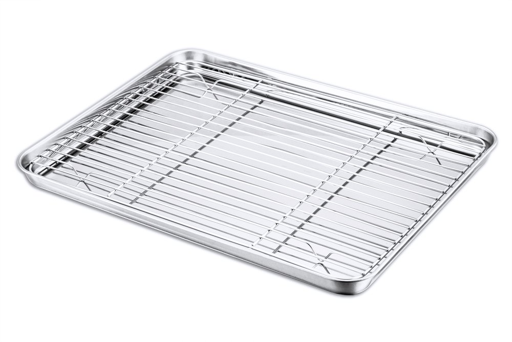 Baking Sheet and Rack Set, P&P Chef Stainless Steel Cookie Sheet Baking Pan Tray with Cooling Rack, Rectangle 16''x12''x1'', Healthy & Dishwasher Safe by P&P Chef