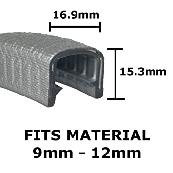 Small black rubber edge protective trim 9.5mm x 6mm