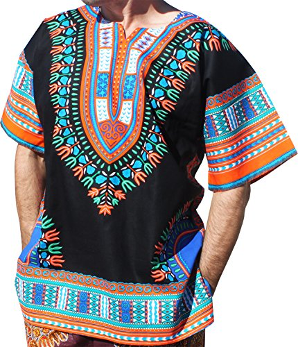 RaanPahMuang Brand Unisex Bright Black Cotton Africa Dashiki Shirt Plain Front, Medium, Black Orange by RaanPahMuang