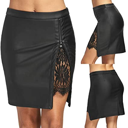 8d462e2e3 Image Unavailable. Image not available for. Color: TRENTON Women Ladies  Skirts High Waist Zip Faux Leather ...