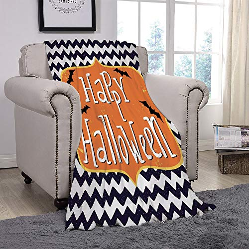 Light weight Fleece Throw Blanket/Halloween,Cute Halloween Greeting Card Inspired Design Celebration Doodle Chevron Decorative,Indigo White Orange/for Couch Bed Sofa for Adults Teen Girls Boys -