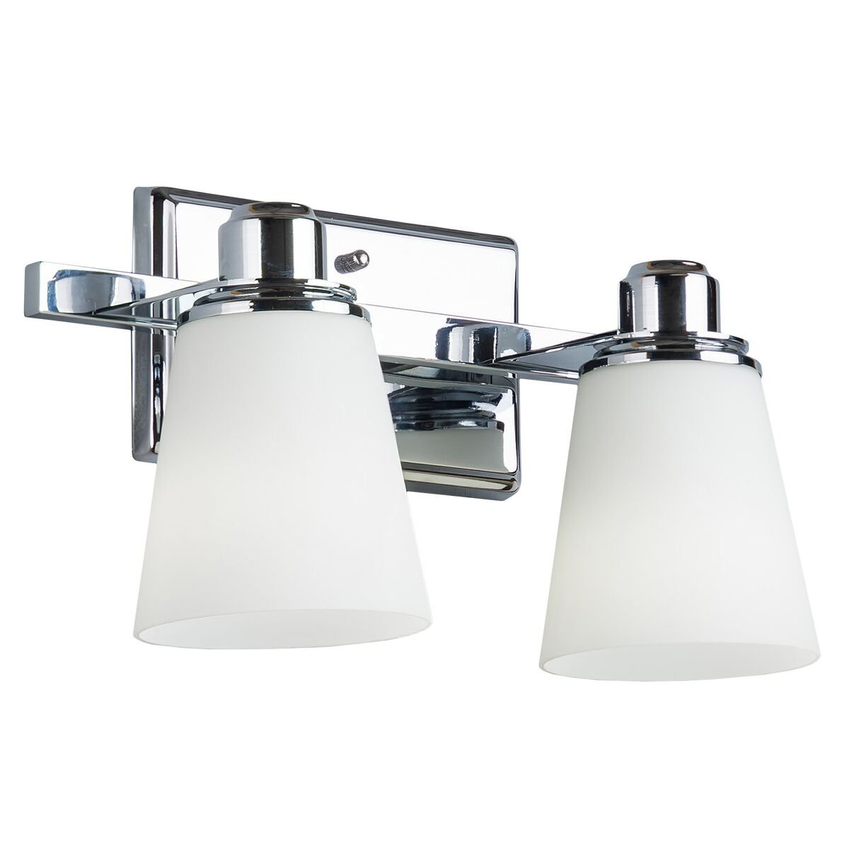 Terracina Two-Light Vanity Sconce Lamp, Polished Chrome with Opal Glass Linea di Liara LL-WL220-2