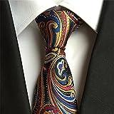 Secdtie Mens Luxurious Tie Cravat Silk Jacquard Floral Pattern Wedding Necktie