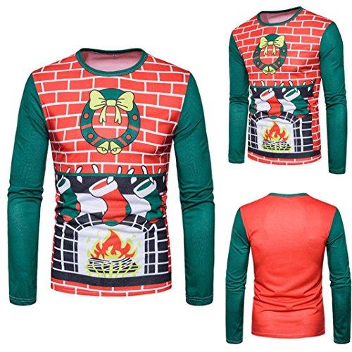 (Litetao Christmas Printing Top, Men 2017 Fashion Long-sleeved Sport O-Neck T-shirt (S,)