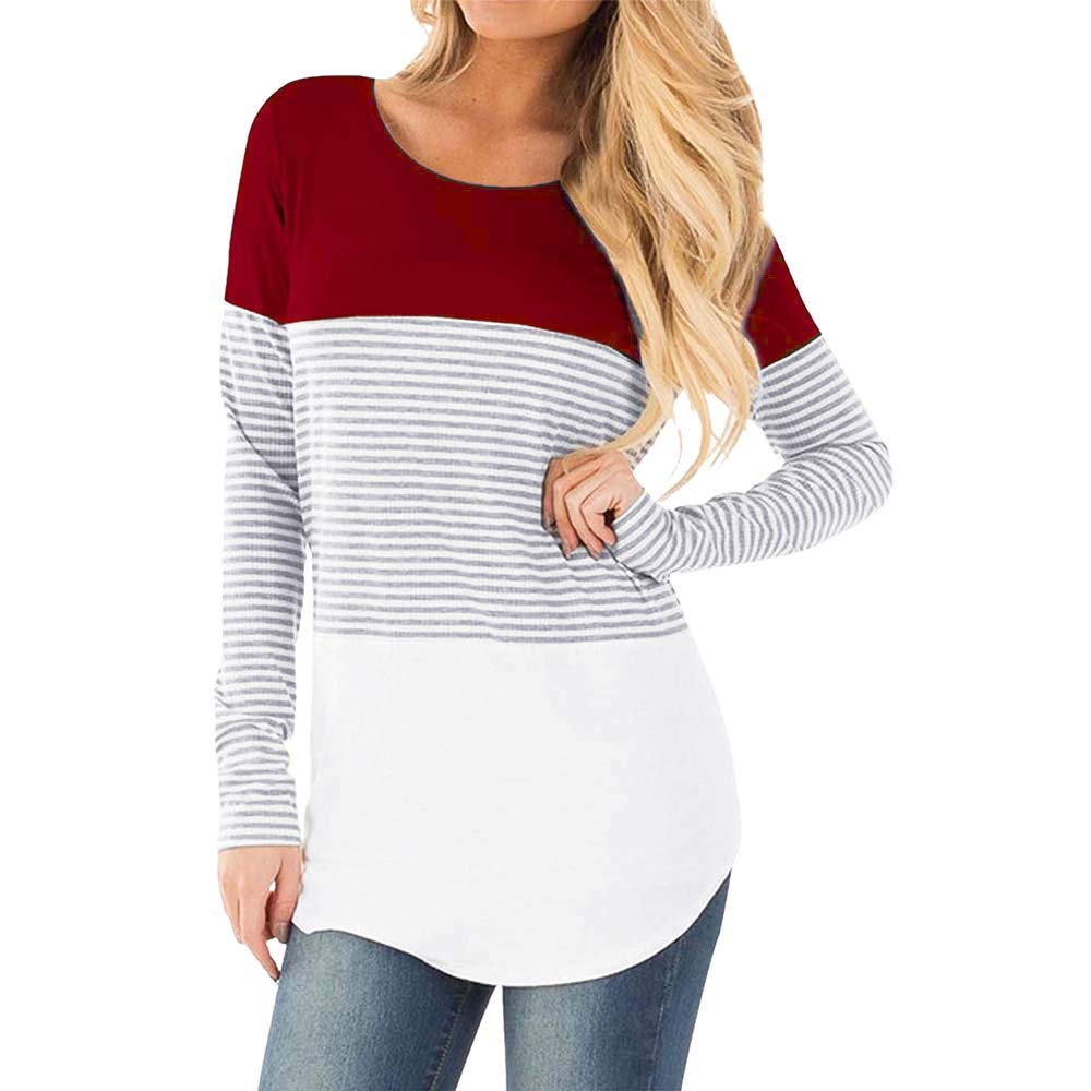 LIKESIDE Women Mom Pregnant Nursing Baby Maternity Long Sleeve Stripe Blouse Top