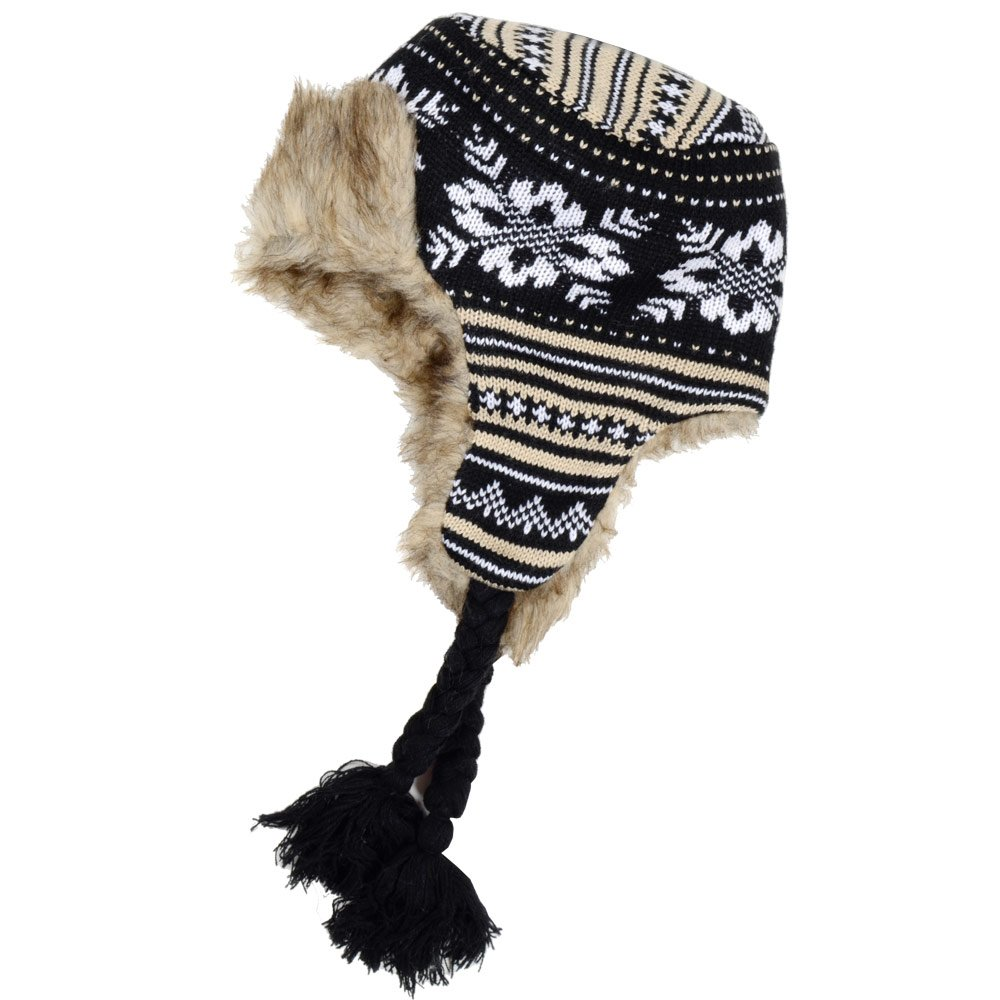 Ladies Knitted Patterned Trapper Hat With Warm Faux Fur Lining - Black & Brown RJM