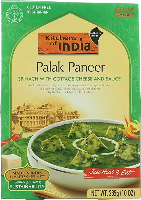 Kitchens Of India Ready-To-Eat Spinach w/ Cottage Cheese - 10 Ounce (Pack of 6)