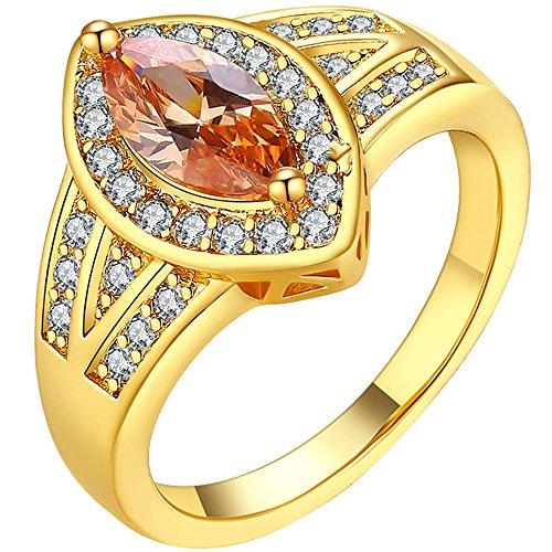 w Gold Marquise Cut Orange CZ Ring Round Gemstone Anniversary Wedding Band for Ladies Szie 8 (Stone Marquise Cut Birthstone Ring)